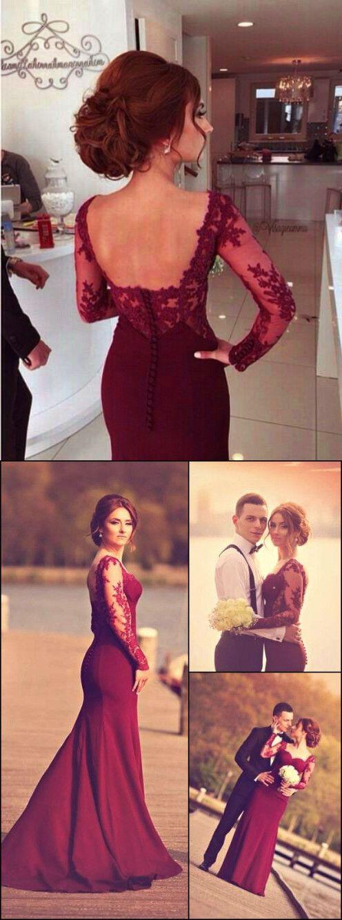 2017 burgundy long sleeves prom dress, mermaid long sleeves evening dress, elegant evening dress