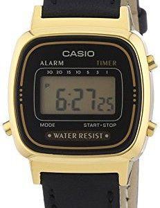 Montre femme Casio Vintage LA670WEGL-1EF  Quartz Digital – Cadran Noir – Bracelet Cuir Noir #Montre #Casio