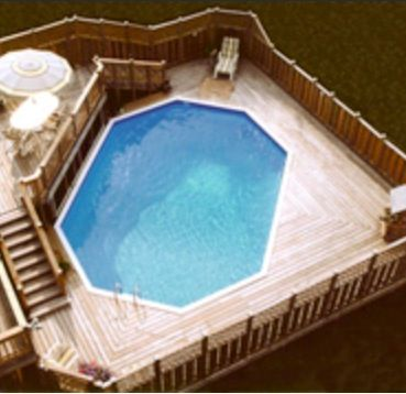 Above ground pool with multi-level deck- maybe a lock @ the bottom of the stairs for child safety.