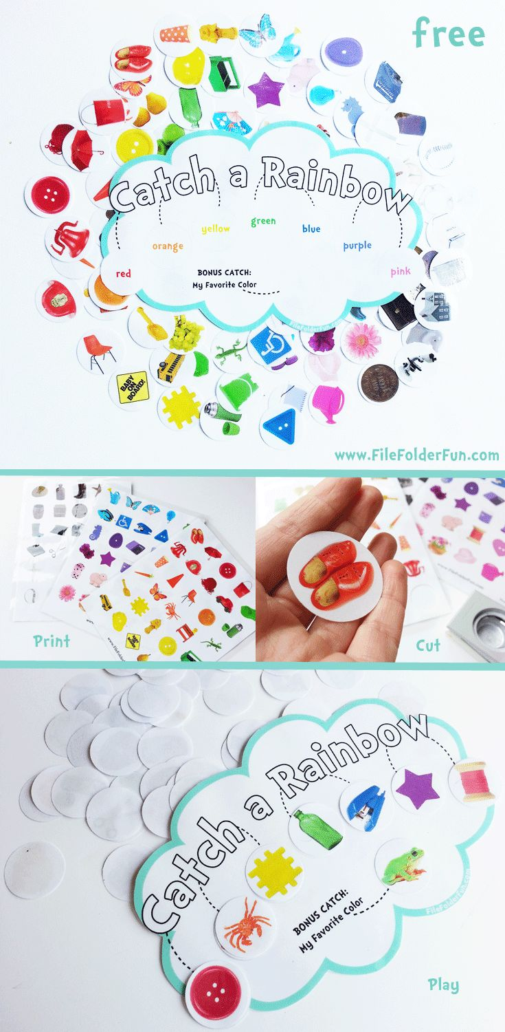 FREE!! Catch a Rainbow Game, real photo objects Free Preschool Printables