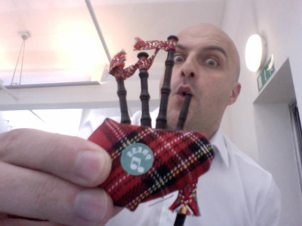 latest magnet from Ian at National Theatre. They make a horrible noise like real bagpipes lol. Here is a photo of our founder Benn playing them. See what he did there?