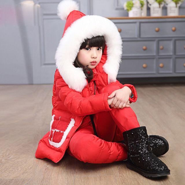 Roupa nova da menina das crianças de inverno de algodão-acolchoado conjuntos de 2016 meninas do bebê colete grosso + tops + algodão calças criança de três-terno pedaço