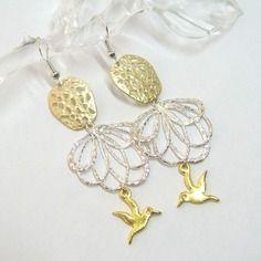 Boucles d'oreilles bicolores argent / doré, argent 925 et métal rhodié