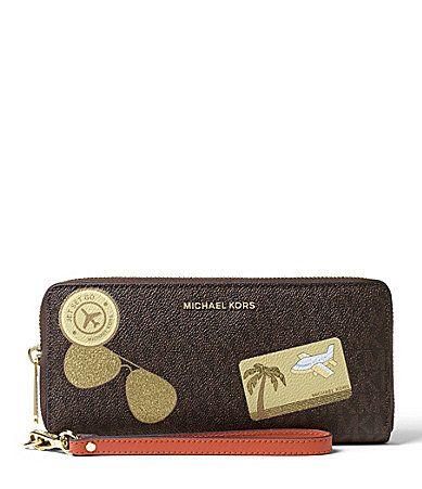 MICHAEL Michael Kors Fly Away Signature Travel Continental Wallet #Dillards
