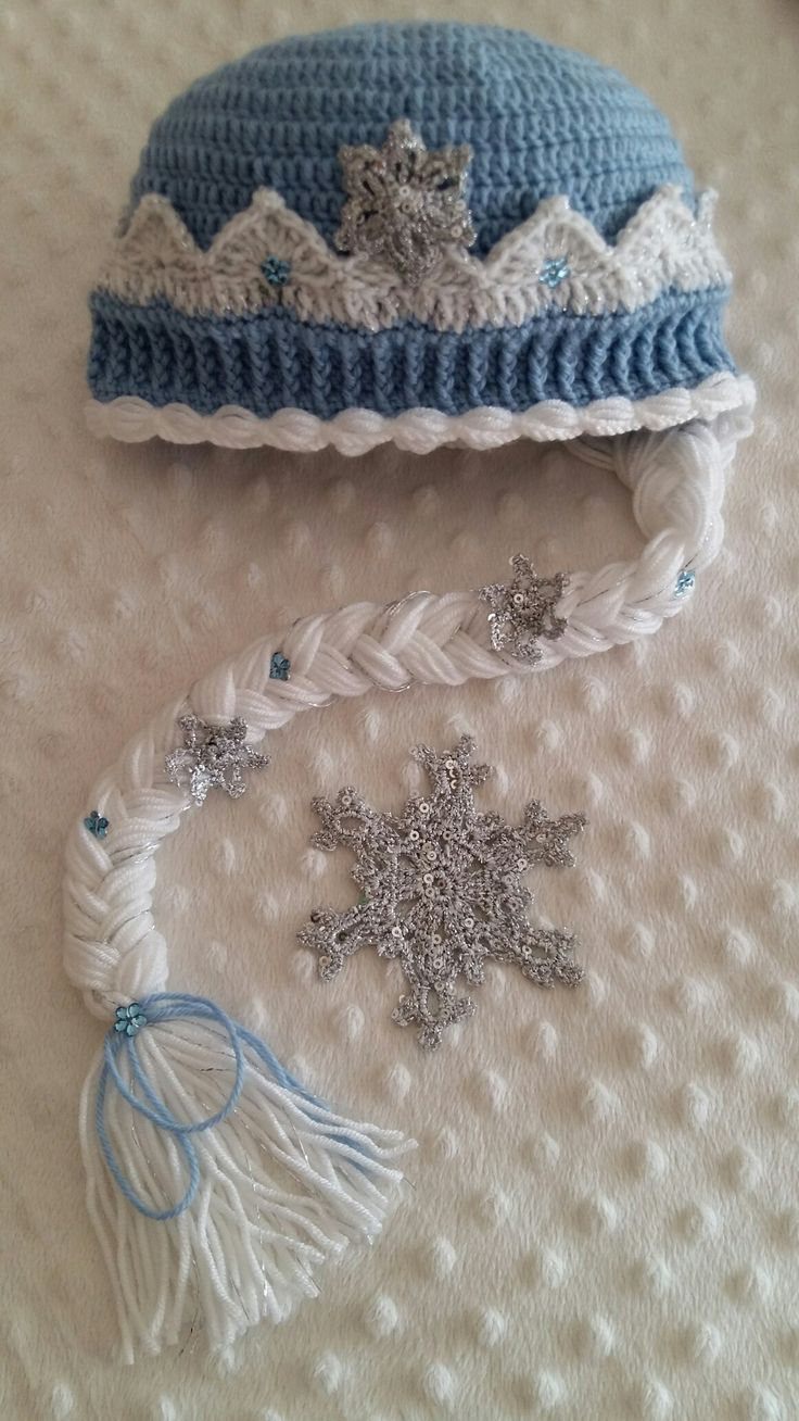 Snow queen handmade crochet hat