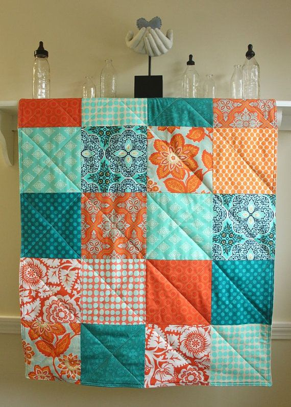 Crib Quilt - Modern Baby Quilt - Turquoise and Tangerine - Aqua and Orange