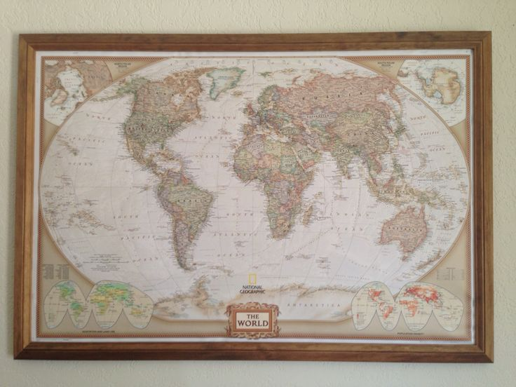 Framed cork-backed map with pins of all the places I've been