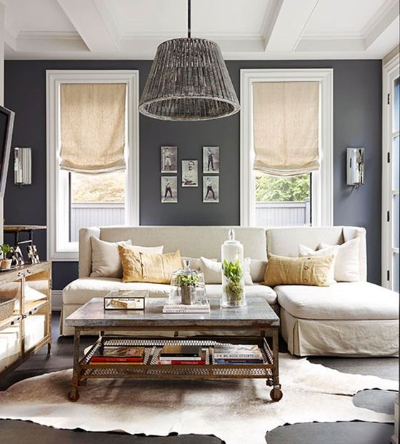 Living Room , Popular Neutral Living Room Wall Color : Neutral Living Room Wall Color Grey Wall With Sectional Sofa With Chaise And Coffee Table With Wheels And Animal Fake Skin Rug And Pendant Lighting