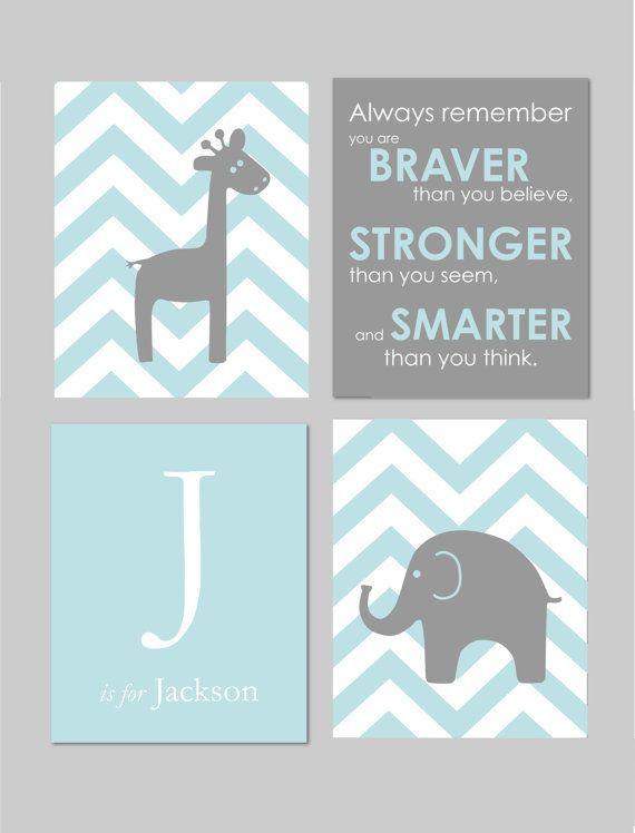 "Modern Nursery Set - Always Remember You are Braver - Initial/Monogram - Elephant And Giraffe Prints - Set of four 8""x10""s on Etsy, $45.00"