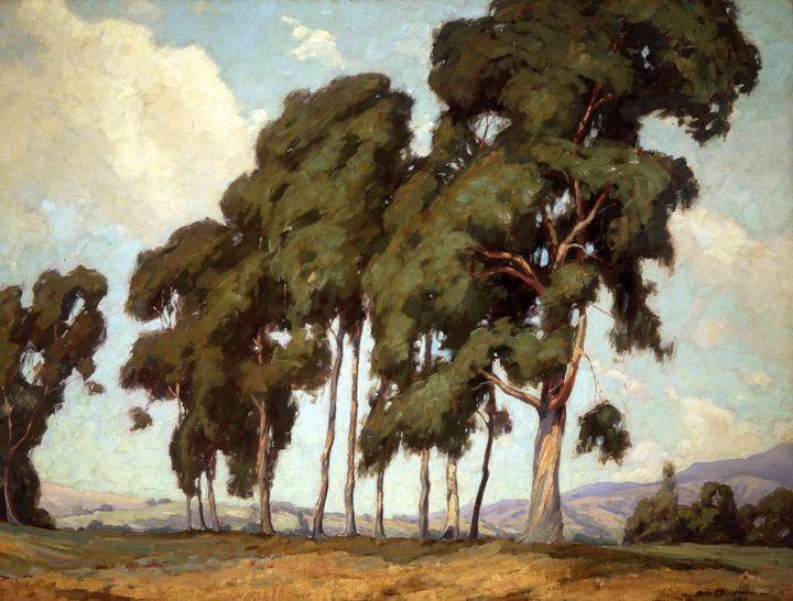 "Aaron Kilpatrick (1872-1953), ""Eucalyptus Trees,"" 1909; o/c, 36"" x 48"", Collection of The Irvine Museum"