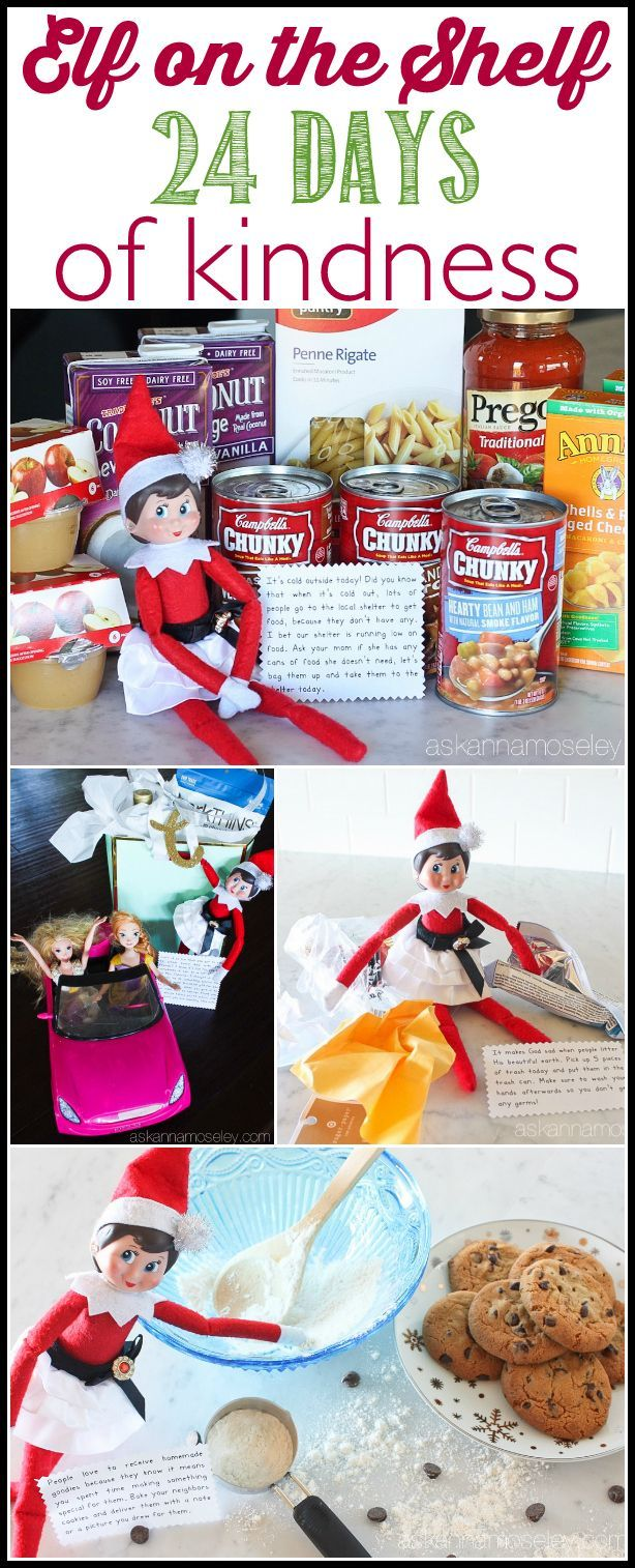 A fun spin on Elf on the Shelf - this year our elf is doing 24 days of kind acts toward others and encouraging our kids to join her   Ask Anna
