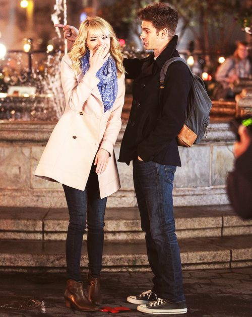 Emma Stone and Andrew Garfield in The Amazing SpiderMan 2  (Andrew, what is your hair? I LIKE IT)