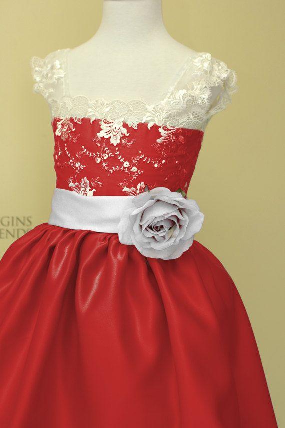 Vestido de Navidad rojo niña, niña vestido de flores para una boda con flores de seda. Vestido fiesta, vestido de las muchachas de flor.