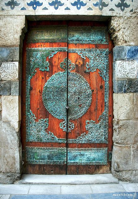 Wood doors. Metal filigree. Egypt.