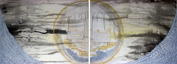 """""""Worldly"""" Diptych painting by Amber Maida mixed media art created with acrylic, pearlescent inks, eggshells, feathers, sand, stones, texture mediums, graphite, ink, antique book pages, vintage silk www.ambermaida.com"""