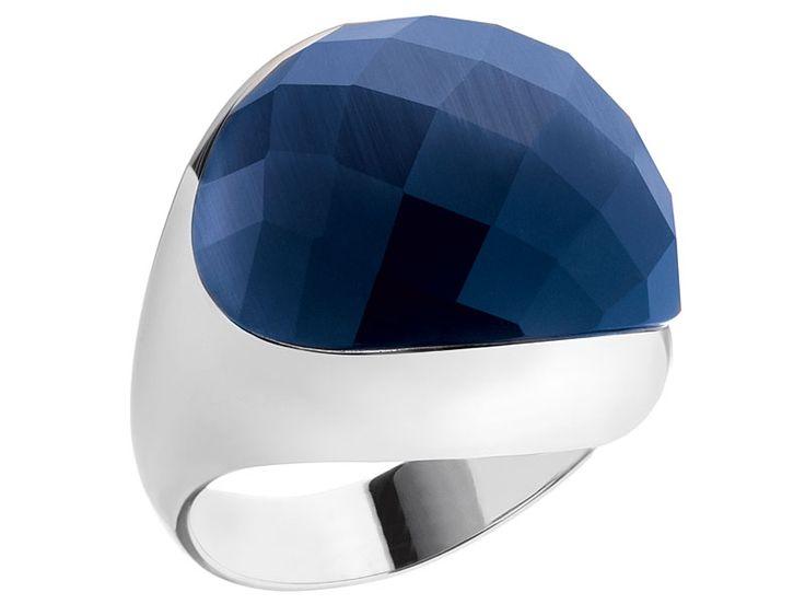 Pierścionek srebrny z kamieniem jubilerskim z efektem kociego oka | Apart
