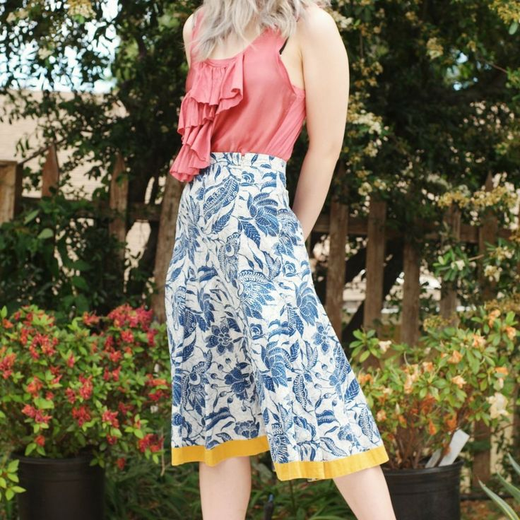 Old Navy Bold Floral Print A-Line Skirt sz 1 100% Cotton for Spring/Summer #OldNavy #ALine