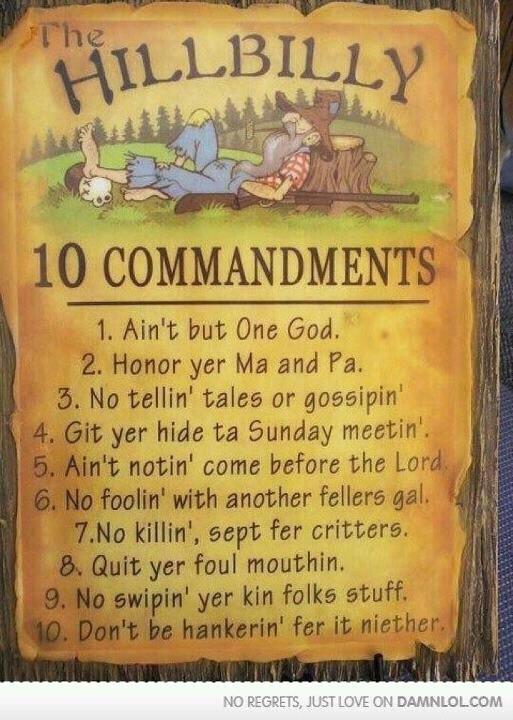 Redneck commandments