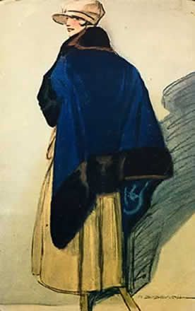 Mantellina blu 1918 - cartolina - Marcello Dudovich