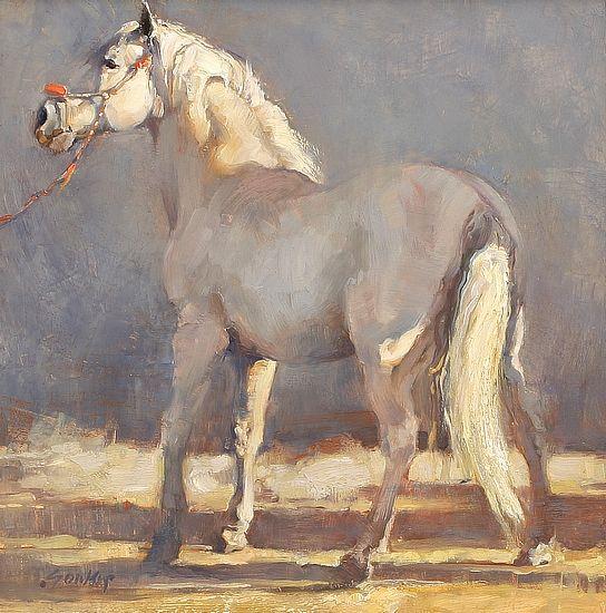 Jill Soukup white horse oil painting