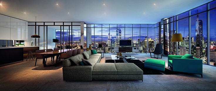 The Penthouse at Platinum Tower. Platinum's apartments are a welcome retreat into spaces that are carefully planned to make living highly enjoyable. Each apartment features balconies and floor-to-ceiling windows that invite the expansive views into your home