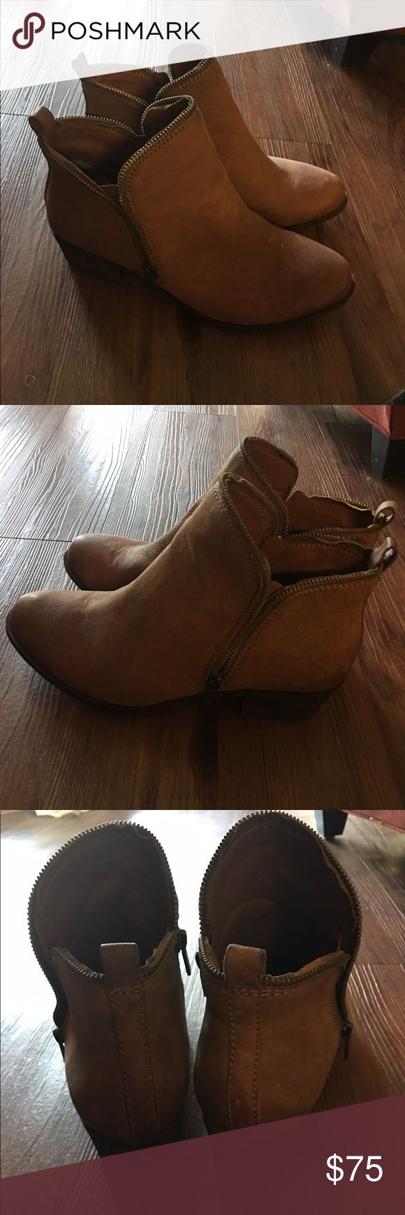 Lucky Brand Basel booties The perfect booties. Double zip on each shoe. Goes great with dresses or jeans. So comfortable! Lucky Brand Shoes Ankle Boots & Booties