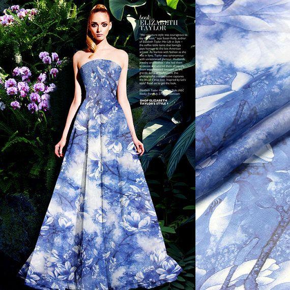 Elegant Blue Silk Chiffon Fabric By The Yard Flower Fabric