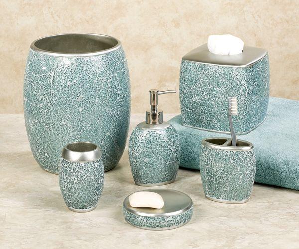 Calm Waters Light Aqua Mosaic Bath Accessories Turquoise Bathroom Decor Teal Bathroom Accessories Green Bathroom Accessories