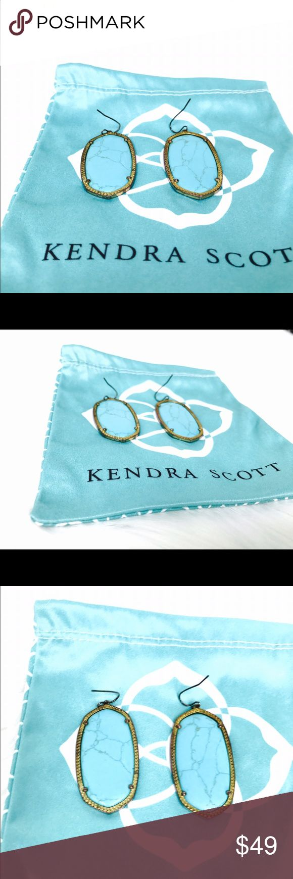 Kendra Scott Danielle Earrings in Turquoise Goregous dangling earrings by Karen Scott. Bought them few years ago. Worn maybe 2x and has been stored in its pouch. It tarnished but it has that antiqued finish that  it will surely rock your  boho chic outfit. Kendra Scott Jewelry Earrings
