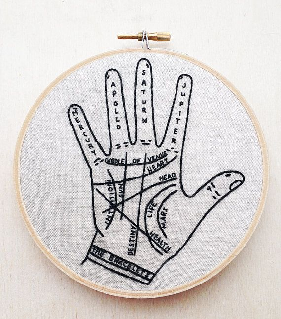 Palm reading embroidery. Super cool!
