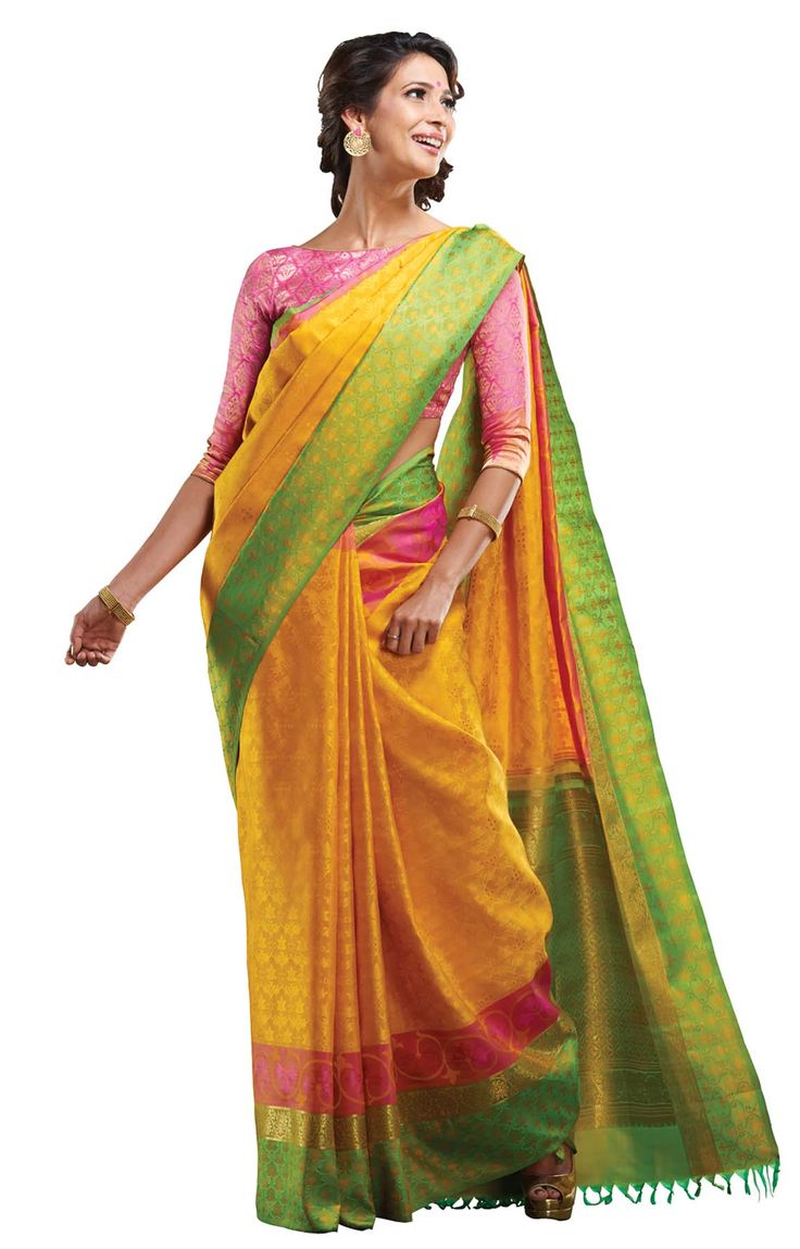 Yellow pure silk saree patterned in abstract floral motifs with borders in pink, gold and green - RmKV Silks