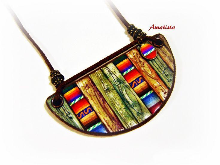 https://flic.kr/p/AvX1Tv | Gargantilla madera-tejido peruano