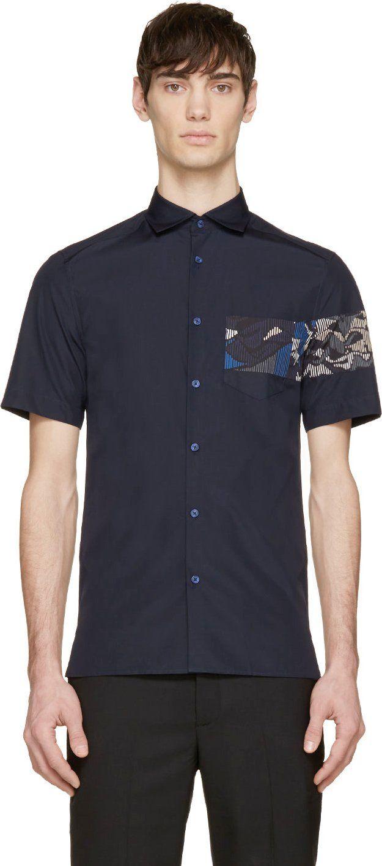 Kenzo Navy Printed Panel Shirt