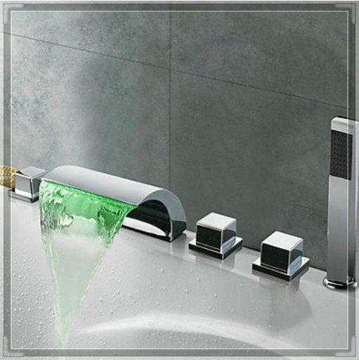 Torneira LED cachoeira bico banheira Filler torneira 3 torneira com Spray de de aparelhos para banheiro alishoppbrasil