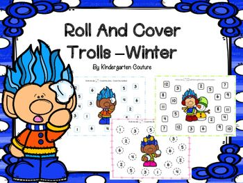 Here are 7 Roll and Color Games with a winter Troll theme in color and black and white. They are great for independent practice, partner games or centers. They are also fabulous for math when you have a substitute in your classroom. Roll 1 die, count the dots and cover the number (2 games)Roll 2 dice add or count the dots and cover the number. (2 games)Roll 1 die, subtract 1 and cover the number.Roll 1 die, add 1 and cover the number.Roll 1 die and double it and cover the number.