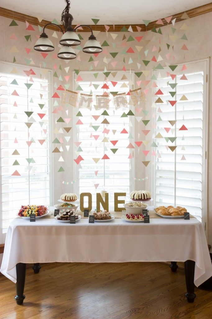 Baby Girl First Birthday Party Food Table | triangle danglies www.manionamor.com
