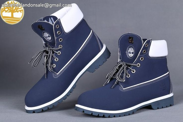 Custom Men's Boots Navy Blue-White Timberland 6 Inch Boots $93.99