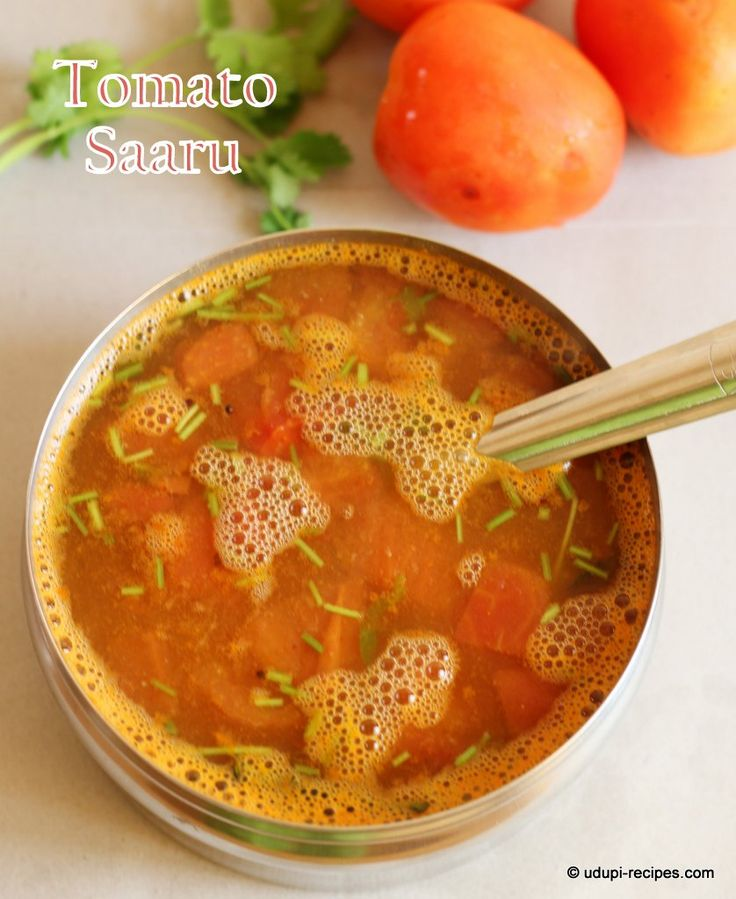 Traditional Indian and very popular rasam in Udupi style. It has tomato, tamarind and jaggery along with some spice mix. You relish it with rice or as soup.
