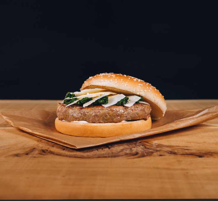 Lamb burger with Pecorino Romano cheese, mint relish and mint Ranch dressing