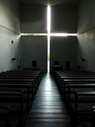 Tadao Ando.  In the small town of Ibaraki, 25km outside of Osaka, Japan, stands one of Tadao Ando's signature architectural works, the Church of the Light.