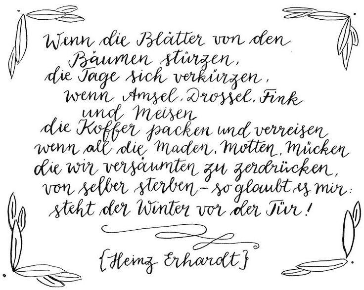 Herbstgedicht Heinz Erhardt | Kalligrafie Bine Güllich waseigenes.com DIY Blog