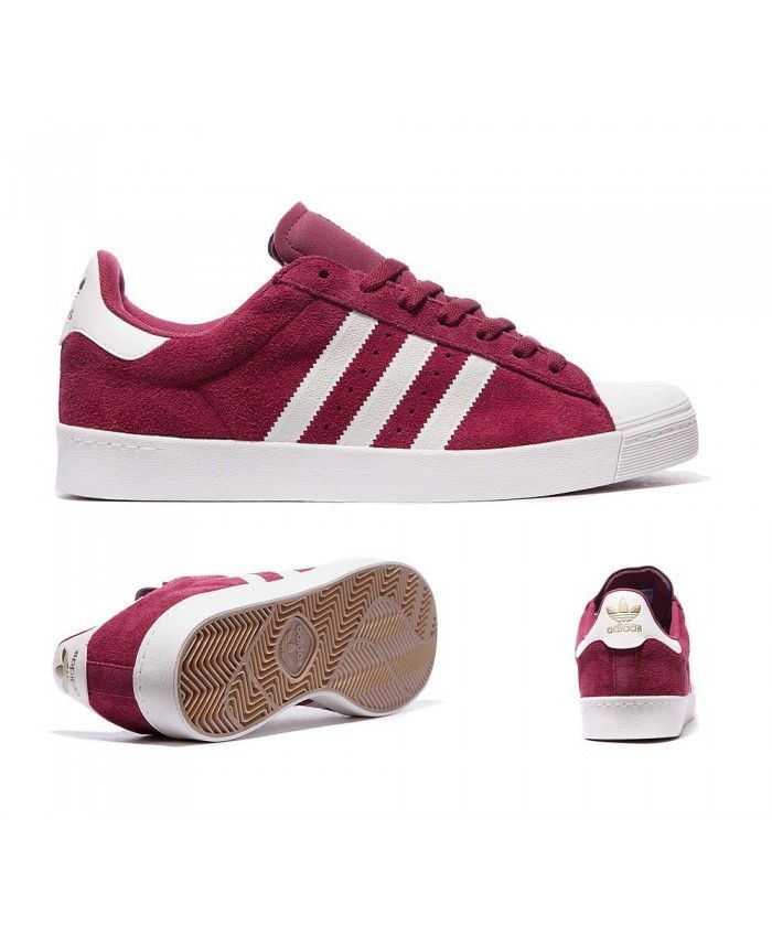 Womens Adidas Originals Superstar Vulcanised ADV Burgundy and White Trainer  Design standards are very high,