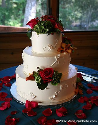 White Wedding cake with dove decor & Red Roses on military blue table cloth-Stunning