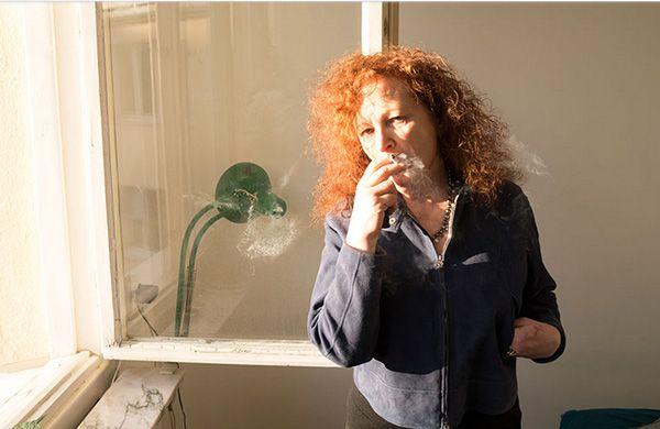 """Juxtapoz Magazine - NAN GOLDIN's """"NINE SELF-PORTRAITS"""" @ Fraenkel Gallery, Nan Goldin smoking a cigarette"""