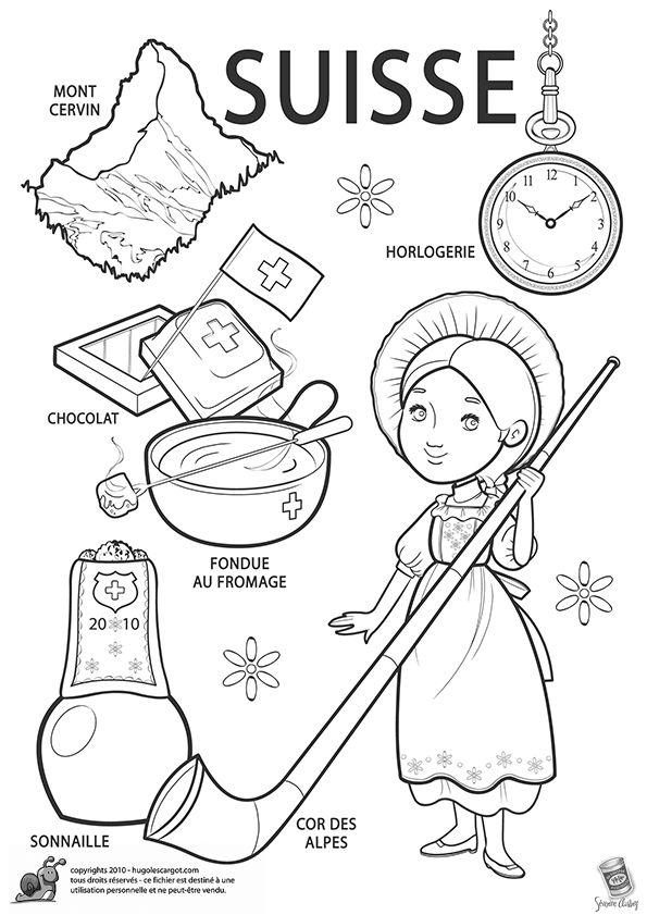 swiss scenes coloring pages - photo#6