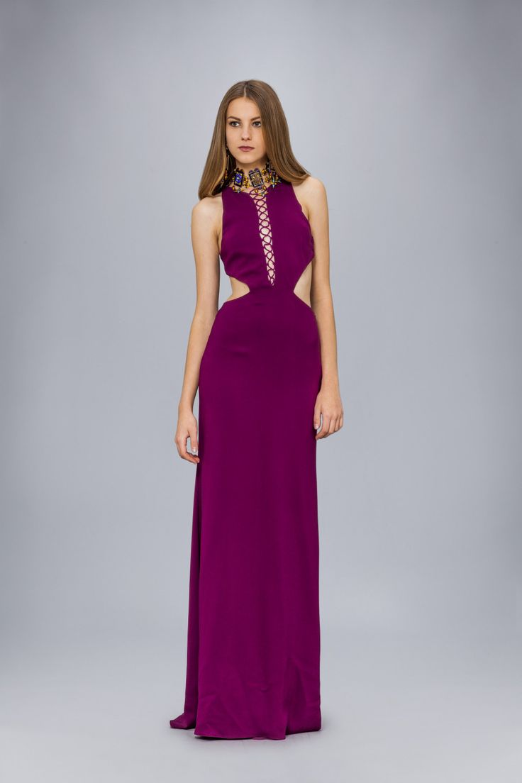 Long dress in cady with criss-cross detail<br>Made in Italy