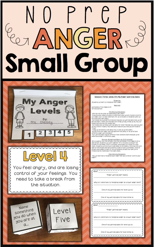 A 6 session, no-prep, social skills group plan focused on anger management. Each session includes an objective, discussion points and an activity. Also includes a 6 item survey to measure growth and two bonus activities. Table of Contents: p.3: General Group Hints p.4: Survey for Data Collection p.5-6: Session 1- How Does My Anger Affect Me? p.7-8: Session 2- What Makes Me Angry? p.9-13: Session 3- What Are My Anger Warning Signs? p.14-18: Session 4- What Are My Early Anger Warning Signs?…