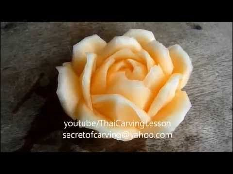 Cantaloupe Carving,Rose Flower,Lessons 7 for Advance,แกะสลักกุหลาบม้วน จาก แคนตาลูป - YouTube