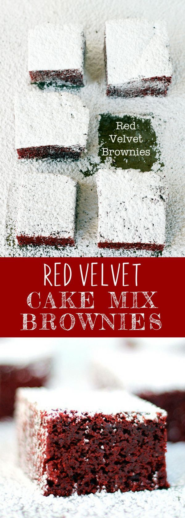 Love quick and easy brownies recipes? This homemade Red Velvet Cake Mix Brownies is easy to make and so chewy. So fudgy, this will be your next favorite. For more easy food recipes, creative craft ideas, easy home decor and DIY projects, check us out at #