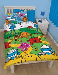 MR MEN & LITTLE MISS ~ 'Village' Single Bed Reversible Quilt Set